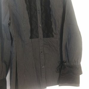 NWOT. Pinstriped, long sleeve blouse.